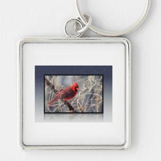 Snow Cardinal Keychain