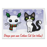 Snow Cat Christmas (design your own cartoon cat!) Card