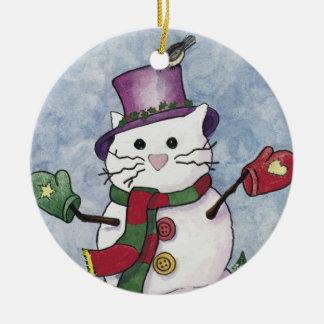Snow Cat Christmas Ornament