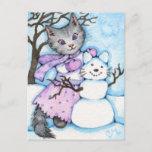 Snow Cat - Cute Kitty Postcard