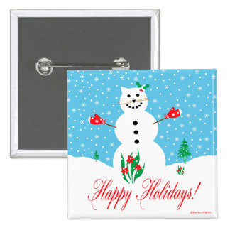 """""""Snow Cat"""" Happy Holidays Button"""
