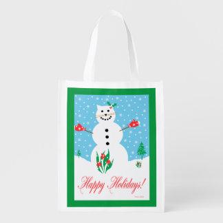 """Snow Cat"" Holiday Reusable Bag Grocery Bag"