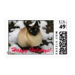 Snow Cat lg Happy Holidays! Postage