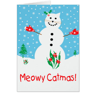 """Snow Cat"" Meowy Catmas Greeting Card"