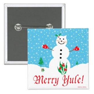 """""""Snow Cat"""" Merry Yule Button"""