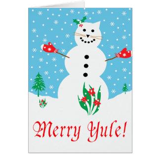 """Snow Cat"" Merry Yule Greeting Card"