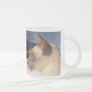 Snow Cat - Siamese Blue Point Profile Frosted Glass Coffee Mug