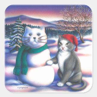 Snow Cats Square Sticker