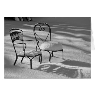 Snow Chairs Black & White Greeting Cards
