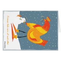 Snow Chicken Friends Card