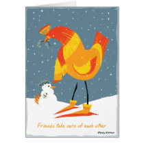 Snow Chicken Friends Card