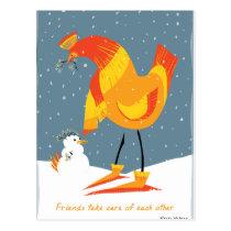 Snow Chicken Friends Postcard