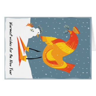 Snow chicken holiday card