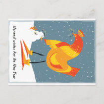Snow chicken holiday card