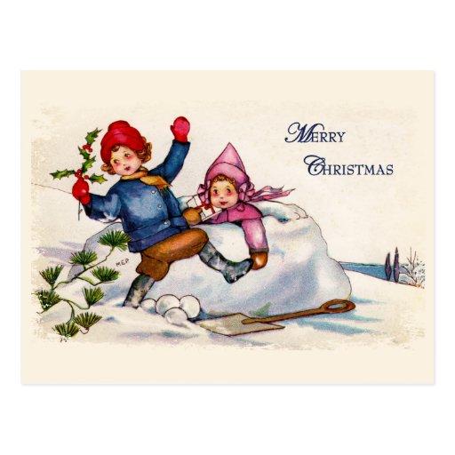 Snow Children Christmas Vintage Postcard