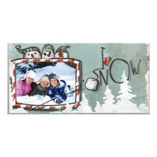snow christmas photo card