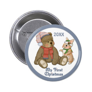 Snow Christmas Teddy and Bunny 2 Inch Round Button