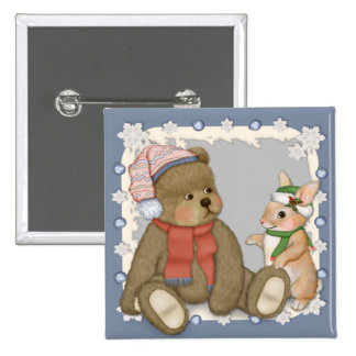 Snow Christmas Teddy and Bunny 2 Inch Square Button