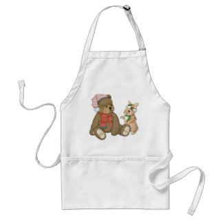 Snow Christmas Teddy and Bunny Adult Apron