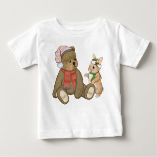 Snow Christmas Teddy and Bunny Baby T-Shirt