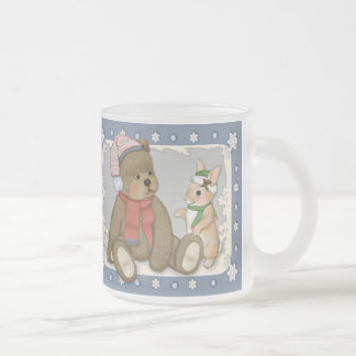 Snow Christmas Teddy and Bunny Frosted Glass Coffee Mug