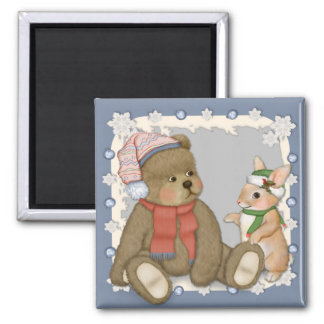 Snow Christmas Teddy and Bunny Magnet