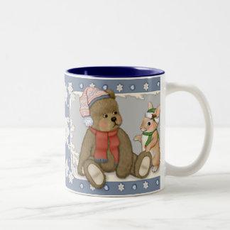 Snow Christmas Teddy and Bunny Two-Tone Coffee Mug