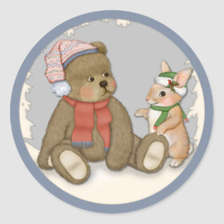 Snow Christmas Teddy and Bunny Round Stickers
