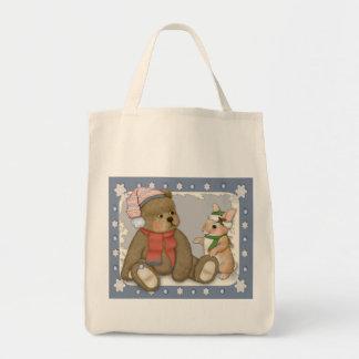 Snow Christmas Teddy and Bunny Tote Bag