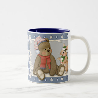Snow Christmas Teddy and Bunny Two-Tone Coffee Mug