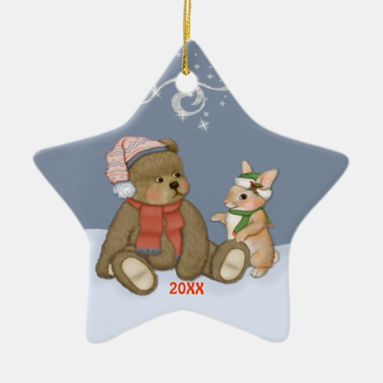 Snow Christmas Teddy Ceramic Ornament