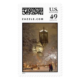 snow_church_couple_tv postage