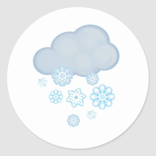 snow cloud classic round sticker