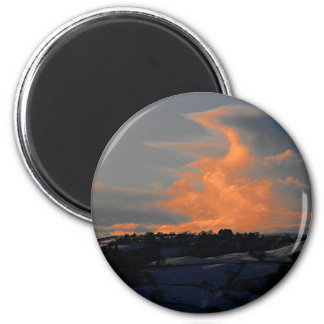 Snow Cloud over Newtown, Powys 2 Inch Round Magnet