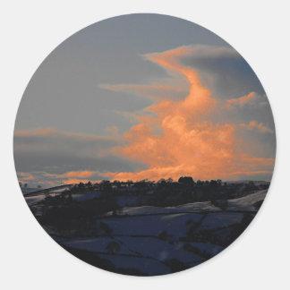 Snow Cloud over Newtown, Powys Classic Round Sticker
