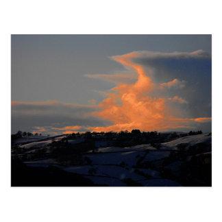 Snow Cloud over Newtown, Powys Postcard