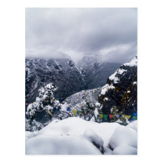 Snow, Cloud & Prayer Flags in Himalayan Mountains Postcard