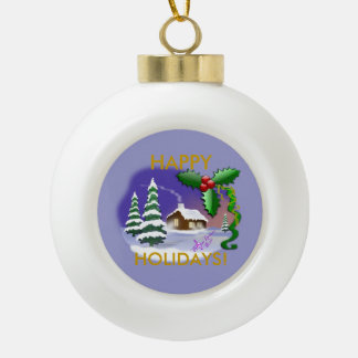 Snow Cottage Happy Holidays Ceramic Ornament Ball