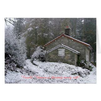 Snow cottage Novy rok Card