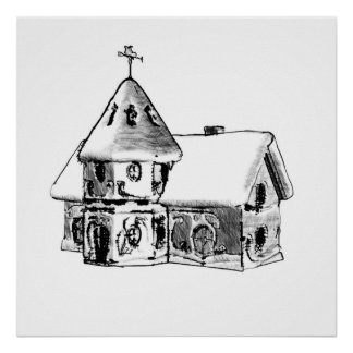 Snow Cottage ~Print~ Poster