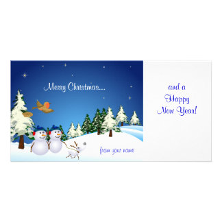 Snow Couple and Dog Photo Greeting Card