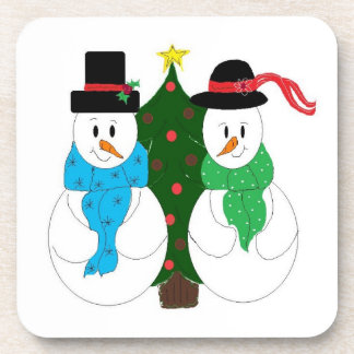 Snow Couple by the Christmas Tree Beverage Coaster
