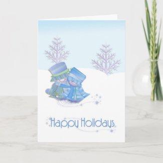 Snow Couple Christmas Card card