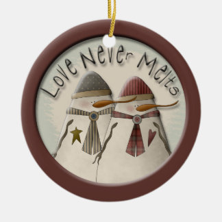 Snow Couple Double-Sided Ceramic Round Christmas Ornament