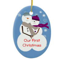 Snow Couple Our First Christmas Ceramic Ornament