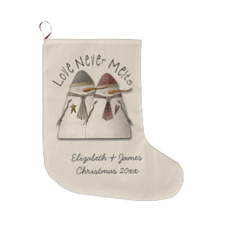 Snow Couple Personalized Large Christmas Stocking