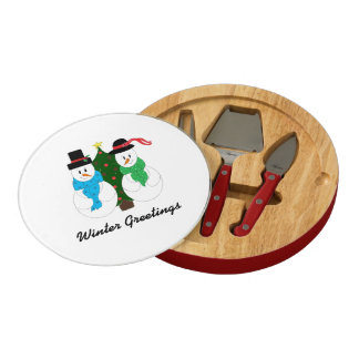 Snow Couple Winter Greetings Cheese Platter