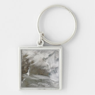 Snow cover encircles Bo Hai Silver-Colored Square Keychain