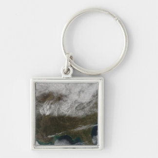 Snow cover stretching from northeastern Texas Silver-Colored Square Keychain