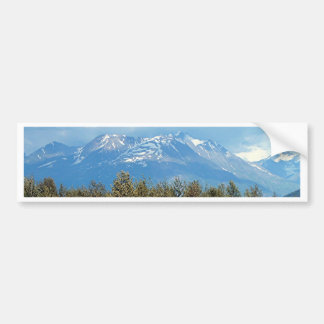 Snow covered Alaskan mountains and forest Bumper Sticker